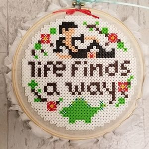 Pixel Art Dr. Malcolm with Embroidery Hoop